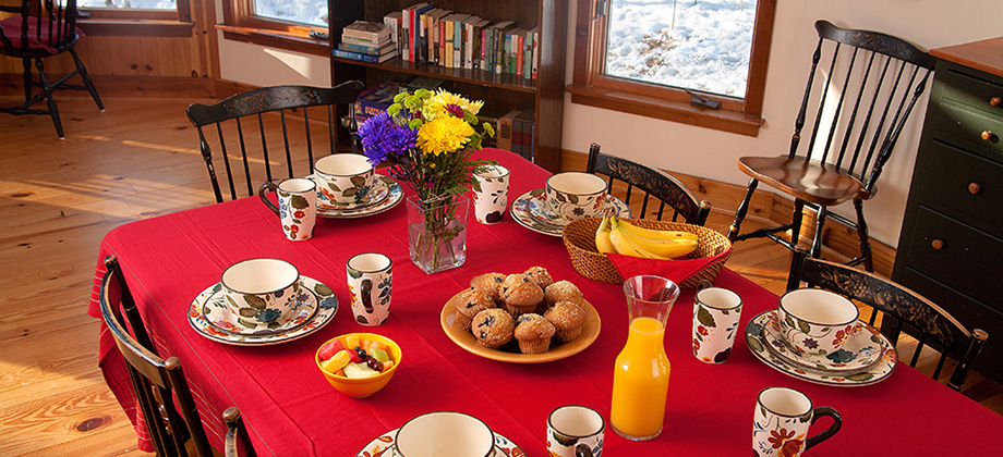 Breakfast at Main Dining Table at The Round House